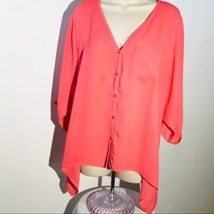 New York & Company Top Blouse Coral Color Size M
